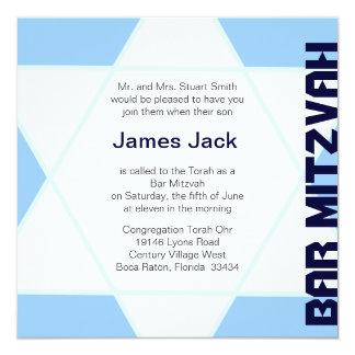 Star of David Bar Mitzvah -blue & white 13 Cm X 13 Cm Square Invitation Card