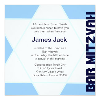 Star of David Bar Mitzvah -blue & white Card