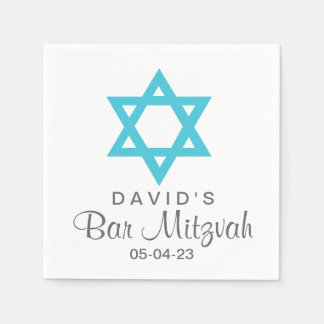Star of David Bar Mitzvah Custom Paper Napkin