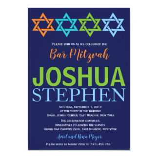 Star of David Bar Mitzvah Invitation