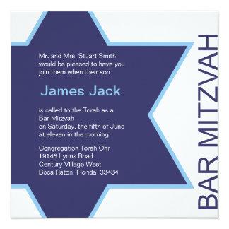 Star of David Bar Mitzvah - white & blue Card