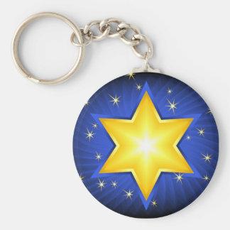 Star Of David Basic Round Button Key Ring
