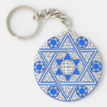 Star of David Basic Round Button Key Ring
