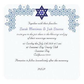 Star of David chuppah jewish wedding Personalized Invitation