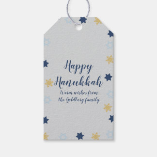 Star of David | Cute Blue and Gold Hanukkah Gift Tags