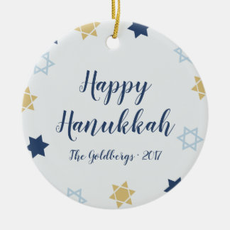 Star of David | Cute Hanukkah Blue and Gold Christmas Ornament
