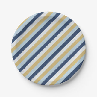 Star of David | Cute Hanukkah Striped Pattern Paper Plate