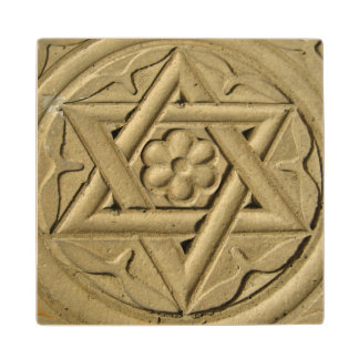 Star Of David Engraved In Stone - Judaism Wood Coaster