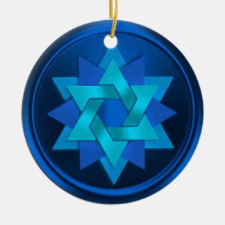 Star of David Flower in Shades of Blue Hanukkah Round Ceramic Decoration