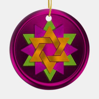Star of David Flower in Shades of Pink Hanukkah Round Ceramic Decoration