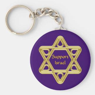 Star of David Gold Basic Round Button Key Ring