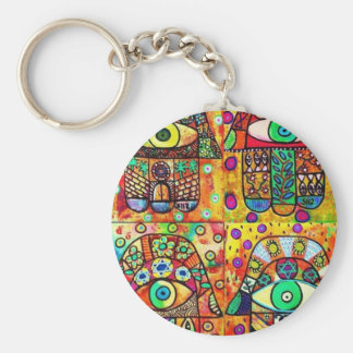 Star Of David Hamsa Vintage Tapastry Basic Round Button Key Ring