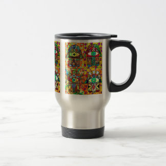 Star Of David Hamsa Vintage Tapastry Stainless Steel Travel Mug