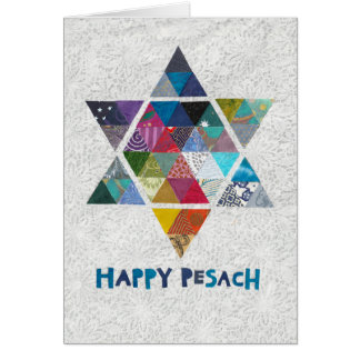 Star of David in Colourful Mosaic for Passover Card