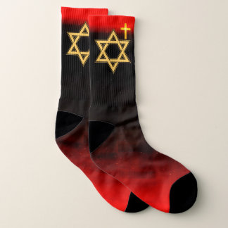 Star of David in Gold on Red and Black Socks