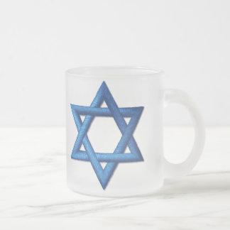Star of David  Jewish Frosted Glass Coffee Mug
