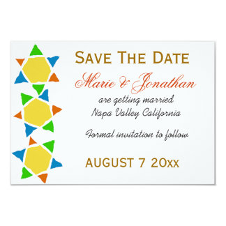 Star of David Jewish Save the date wedding 3.5x5 Paper Invitation Card