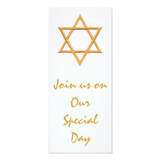Star of David  Jewish Wedding 4x9.25 Paper Invitation Card