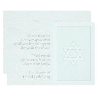 Star of David Memorial Pale Blue Textured card 9 Cm X 13 Cm Invitation Card