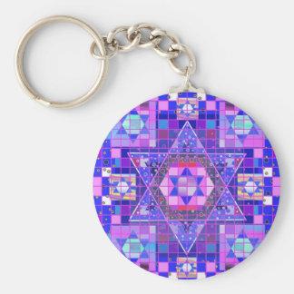 Star of David mosaic Basic Round Button Key Ring