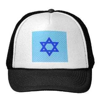 Star of David on blue polka dots. Hats