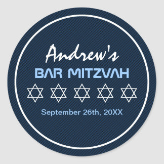 Star of David Pattern Bar Mitzvah Classic Round Sticker
