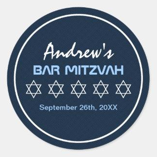 Star of David Pattern Bar Mitzvah Round Stickers