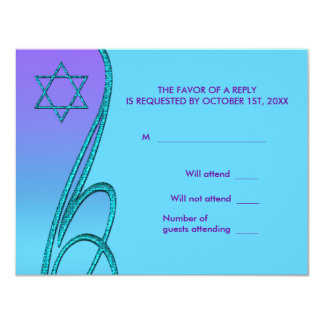 Star of David RSVP Cards Purple Teal 11 Cm X 14 Cm Invitation Card