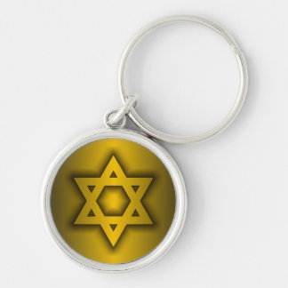 Star of David Silver-Colored Round Key Ring