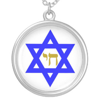 STAR OF DAVID & SYMBOL OF LIFE SILVER PLATED NECKLACE