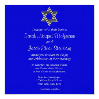 "Star of David Wedding Invitations 5.25"" Square Invitation Card"
