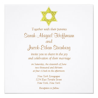 "Star of David Wedding Invitations 5.25"" Square Invitation Card"