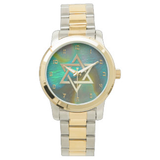 Star of David with Abalone Background Watch
