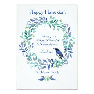 Star of David Wreath Holiday Card 13 Cm X 18 Cm Invitation Card