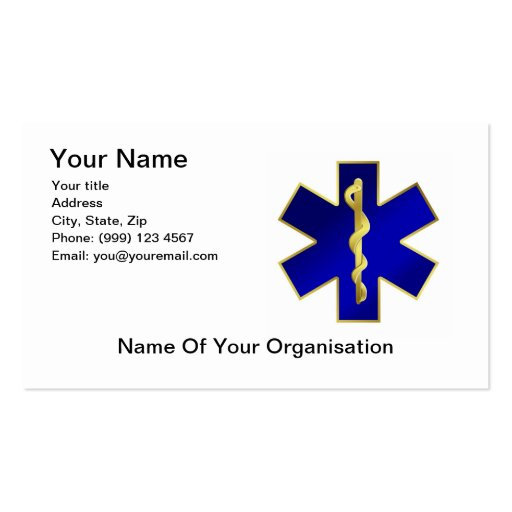 Star of Life Business Card, double sided.