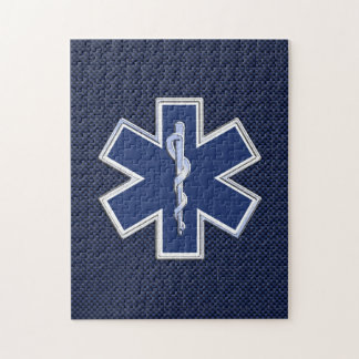 Star of Life Paramedic EMS on Blue Carbon Fiber Jigsaw Puzzle