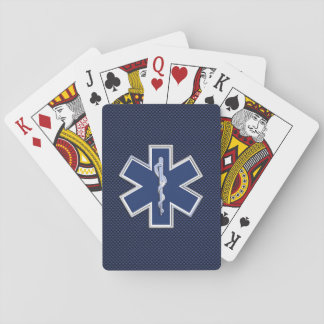 Star of Life Paramedic EMS on Blue Carbon Fiber Playing Cards
