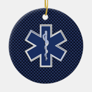 Star of Life Paramedic on Navy Blue Carbon Fiber Round Ceramic Decoration