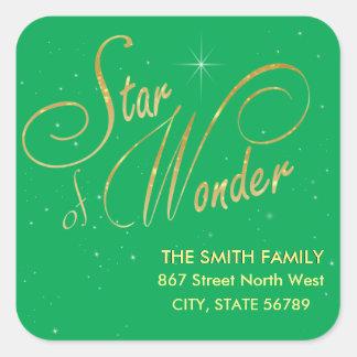 Star of Wonder Festive Gold Glitter Square Sticker
