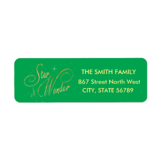 Star of Wonder Guiding Light Green Christmas Return Address Label