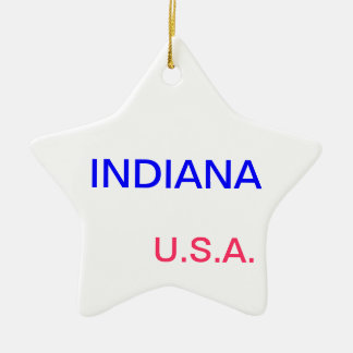 Star ornament with indiana and indianapolis on it.