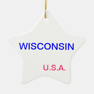 Star ornament with wisconsin and madison on it.
