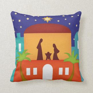 Star over Bethlehem Christmas Nativity Bendel Throw Pillow