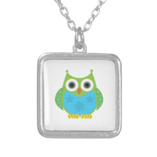 Star Owl - Green Blue Silver Plated Necklace