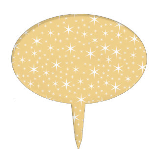 Star Pattern in White and Non-metallic Gold Color. Cake Picks