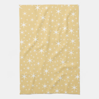 Star Pattern in White and Non-metallic Gold Color. Tea Towel
