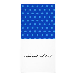 Star pattern,inky blue photo greeting card