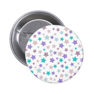 Star Pattern - Purple Pink and Blue on White 6 Cm Round Badge