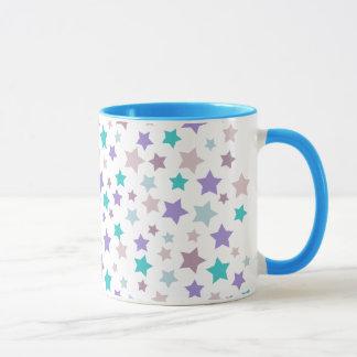 Star Pattern - Purple Pink and Blue on White Mug