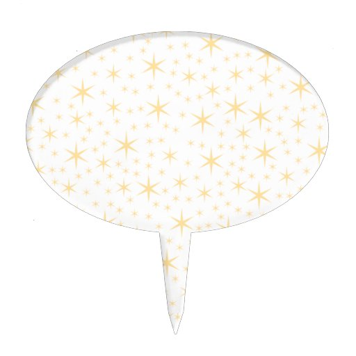Star Pattern, White and Non-metallic Gold Color. Cake Topper